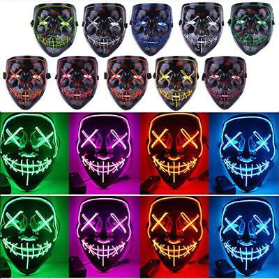 2018 Halloween Scary Mask Cosplay LED Costume Mask Wire Light Up The Purge Movie