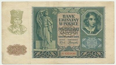 Banknote Generalgouvernement Polen 50 Zlotych 1940 Ro.576