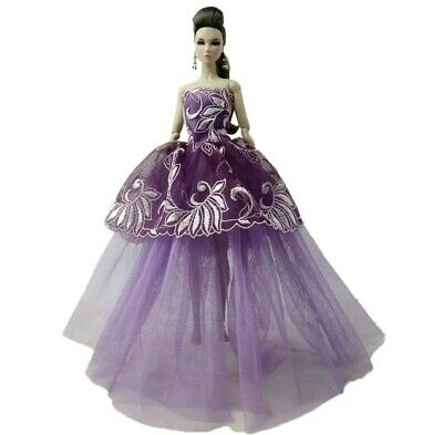 New Barbie doll clothes outfit princess wedding gown dress purple lace and shoes
