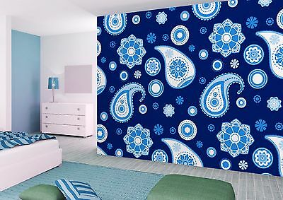 Wallpaper Wall Mural blue paisley and stars pattern W300 x H240 CM (R803228P)