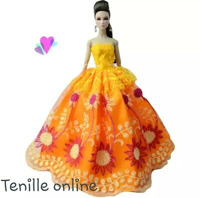 New Barbie clothes outfit princess wedding gown dress orange lace and shoes x1