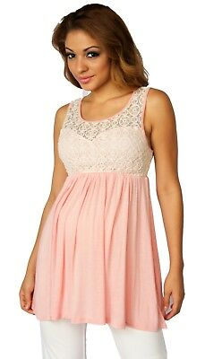 5588cfeef9a1f Pink Sleeveless Maternity Pregnancy Top Blouse Work Attire Lace Detail Open  Back