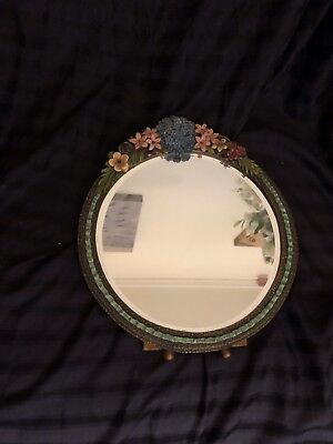 Antique, Vintage, Barbola Flower Mirror with ribbon border / Pink faded roses.