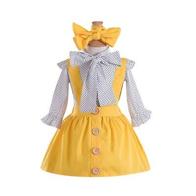 US 2PCS Toddler Kids Baby Girl Polka Dot Tops Dress Skirts Autumn Outfit Clothes