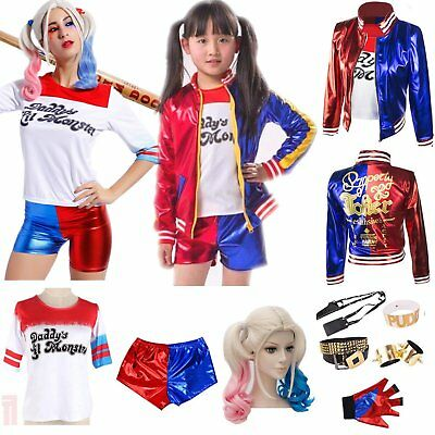 Harlequin Harley Quinn Suicide Squad Coat T-Shirt Wig Halloween Costume Cosplay