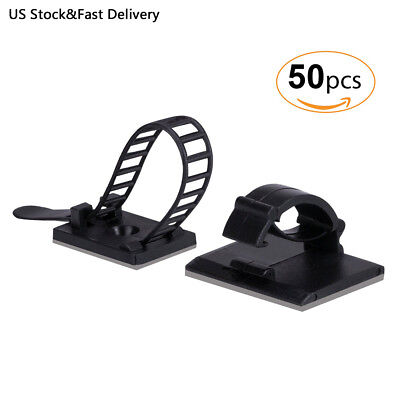 AGPTEK 50PCS Organizers Kit (25 Cable Ties and 25 Clips) for Cable Management