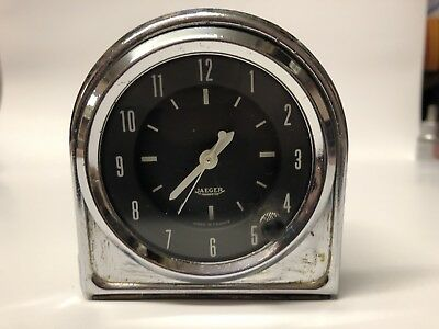 Jaeger Classic Vintage Racing Electrical Clock - Black Dial And Chrome Bezel 12V