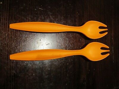 Tupperware orange salad servers spoons forks