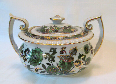 Spode Copeland England Burley & Co Chicago Antique Sugar Bowl w/Lid Green Gold