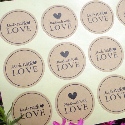 120Pcs Handmade With Love Gift Seal Craft Stickers Labels Diy Wedding Favour Sma