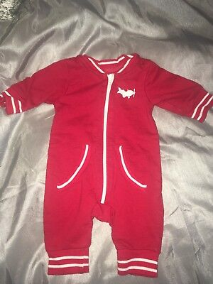 Baby Boys Red Zip Up All In One Coat/Sleepsuit Mothercare Size Newborn