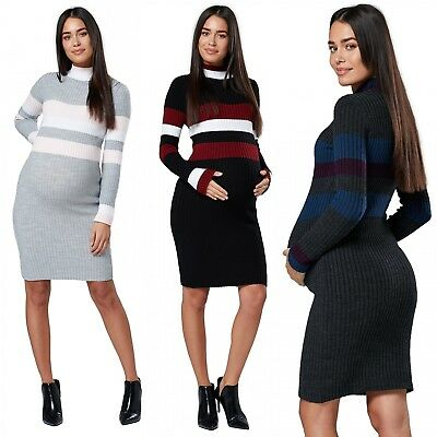 Chelsea Clark Women's Maternity Knitted Midi Sweater Dress Long Sleeves. 054p