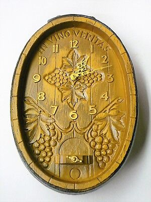 Vintage Wine Barrel Wall Clock - In Vino Veritas (In wine there is truth)