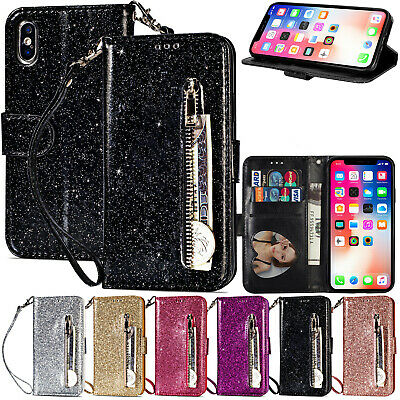 For iPhone X XS Max XR 8 Plus Bling Zipper Leather Magnet Wallet Flip Case Cover