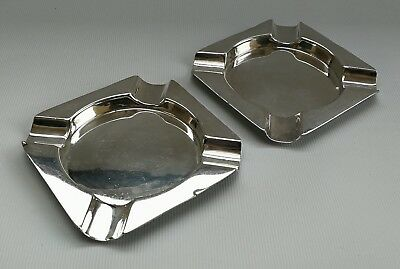 Vtg 1920s Warner Bros Pair Colonial Indian Solid Sterling Silver Ashtrays 120g