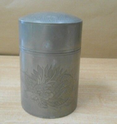 Huikee Swatow Antique Pewter Chinese Oriental Tea Caddy Dragon Asian Metal