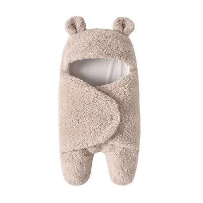 Newborn Baby Hooded Swaddle Wrap Winter Warm Swaddling Blanket Sleeping Bag BS