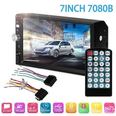 7'' 2DIN Car MP5 Player Bluetooth Touch Screen Stereo HD Dual Core + Rear Camera