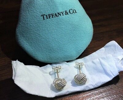 $225 Tiffany & Co. Sterling Silver 925 Twist Knot Rope Earrings with 14k Post