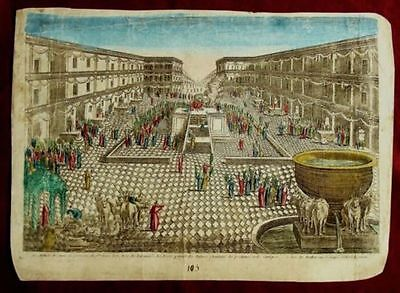 """Original 1750 Hand Painted Copper Engraving: """"Succoth Festival in The Temple"""""""