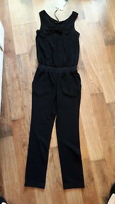 Monnalisa BNWT Girls Black Bow Jumpsuit Age 10 Years