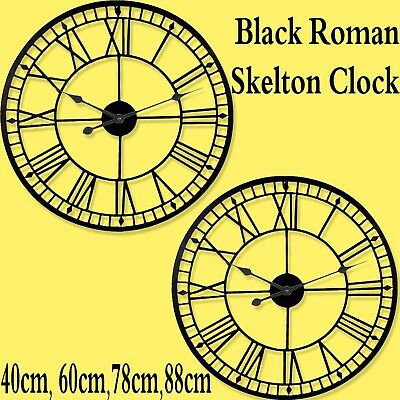 Black Roman Metal Wall Clock Traditional Vintage Skeleton Home Garden Black Iron