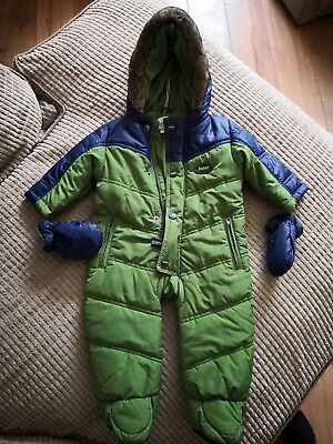 Ted Baker Baby Boys Green Navy Padded Snowsuit With Mittens 3-6 Months VGC