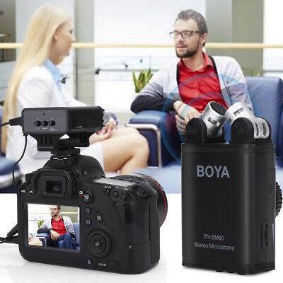 BOYA BY-SM80 Bi-directional Stereo Microphone for Canon Nikon DSLR Camcorder UK