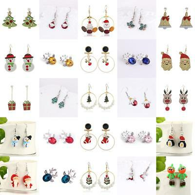 Charm Christmas Xmas Santa Claus Snowmen Cartoon Earrings Hook Women's Jewellery