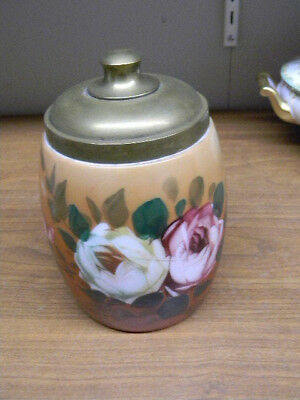"Hand Painted Glass Tobacco Jar With Brass Lid 7"" Tall"