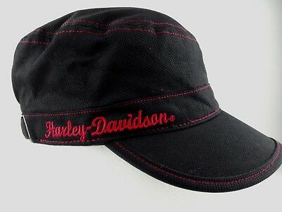 Harley Davidson Womens Flat Top Cap Black Red Embroidery with Buckle
