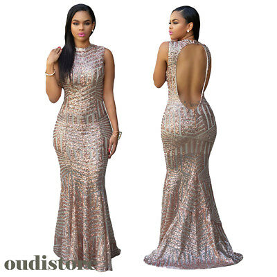 Women Sexy Sequin Backless Party Celeb Long Gown Sparkly Boutique Maxi PromDress