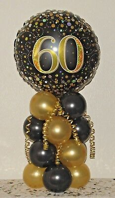 60Th Birthday- Age 60 Foil Balloon Display-Table Centrepiece Decoration- Banner