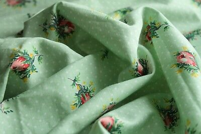 Rose Bud Fabric Pink Floral Spotty Mint Green Soft Pure Cotton Vintage 1950's