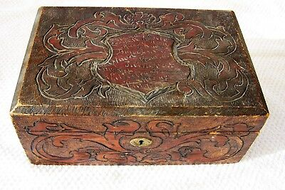 Antique Ornate Cigar Humidor  Engraved Names With Shield  Black Germany 1800's