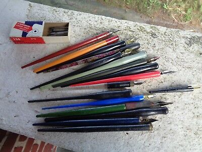 Vintage Lot Of 17 Fountain Dip Pens Nibs Carters Faber Bradley Eagle Wood