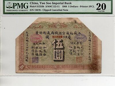 Yue Soo Imperial Bank Five Dollars 1908 om PMG 20