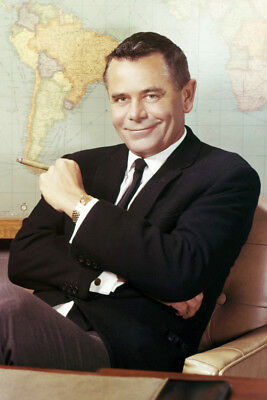 Glenn Ford Seated By World Map 24X36 Premium Quality Poster