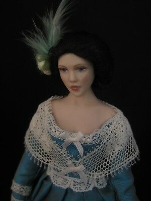 Exquisite dolls house 1/12th doll by Celia Mayfield~Victorian lady in turquoise