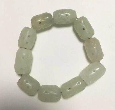 Vintage Fine Natural hand-carved Beautiful white Jade bead Bracelet