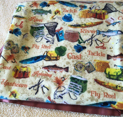 Baby Blanket New Fishing XL Flannel Receiving Swaddling Security Satin Trim