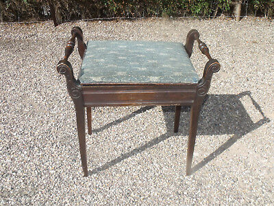 Antique Piano Stool Mahogany And Beech In Original Scrumple
