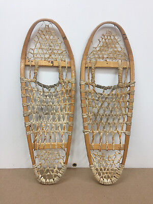 "Old Antique Vintage 10"" X 29"" Indian Made Snowshoes For Decor Or Arts And Craft"