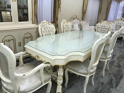 Beautiful Antique Vintage Furniture Ivory 11 Piece Dining Room and Server Set