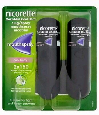 Nicorette Quickmist 1mg Mouthspray nicotine  Cool Berry Flavour 2 X 150Quickmist