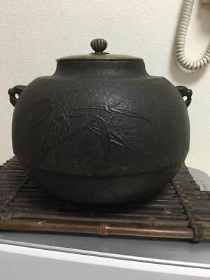 Japanese Antique Vintage Chagama Teapot Tea Ceremony Bamboo Orchid Engraving