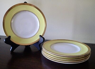 Six Coalport China Athlone-Yellow Bread & Butter Plates in VGC - 6 1/2 Inches