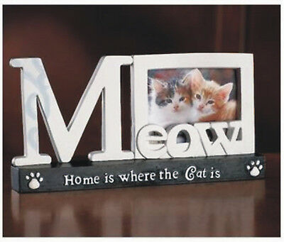 "Cat Photo Frame 8""W x 4""D Meow Paw Print Kitten Picture Kitty Polyresin"