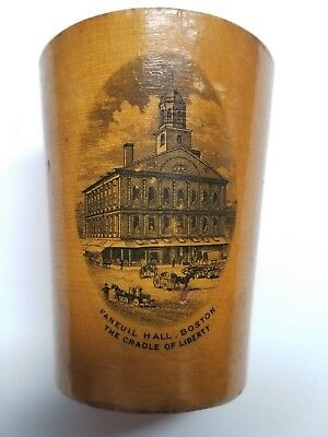 Antique Mauchline Ware Cup ~ Faneuil Hall, Boston ~ The Cradle Of Liberty