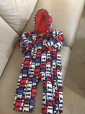 M&s Size 18-24 Months Baby Winter Warm Blue & Red Cars Snowsuit